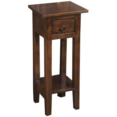 Shabby Chic Collection - Side table finished in a distressed Java brown - three-quarter view CC-TAB1792S-OJ