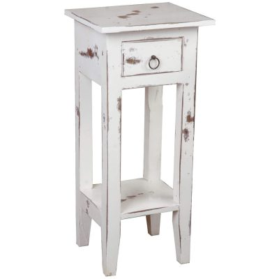 Shabby Chic Collection - Side table finished in a heavy distressed whitewash - three-quarter view CC-TAB1792HD-WW