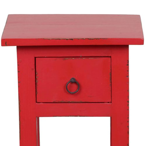 Shabby Chic Collection - Side table finished in antique red - detail of top and drawer CC-TAB1792LD-AR