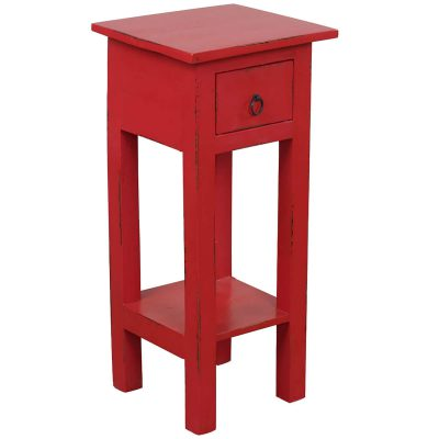 Shabby Chic Collection - Side table finished in antique red - three-quarter view CC-TAB1792LD-AR