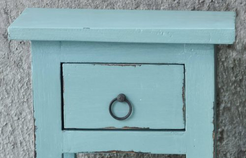 Shabby Chic Collection - Side table finished in distressed beach blue - detail of drawer CC-TAB1792LD-BB