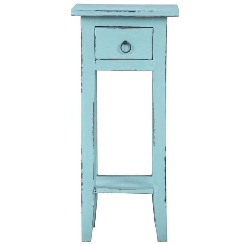 Shabby Chic Collection - Side table finished in distressed beach blue - front view CC-TAB1792LD-BB