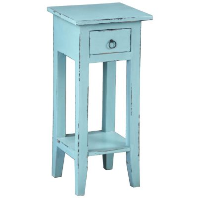 Shabby Chic Collection - Side table finished in distressed beach blue - three-quarter view CC-TAB1792LD-BB