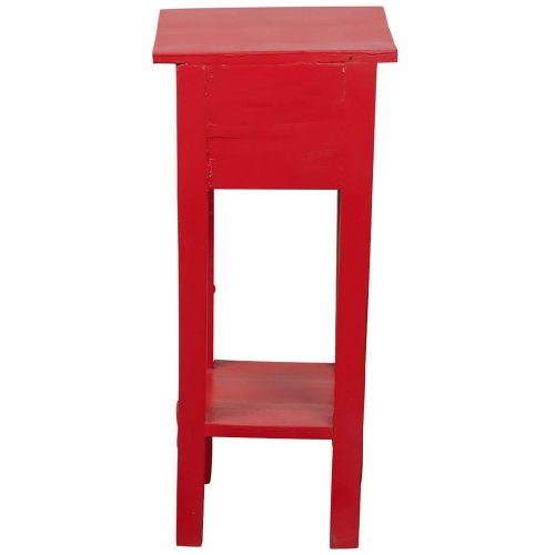 Shabby Chic Collection - Side table finished in distressed red - back view CC-TAB1792LD-RD