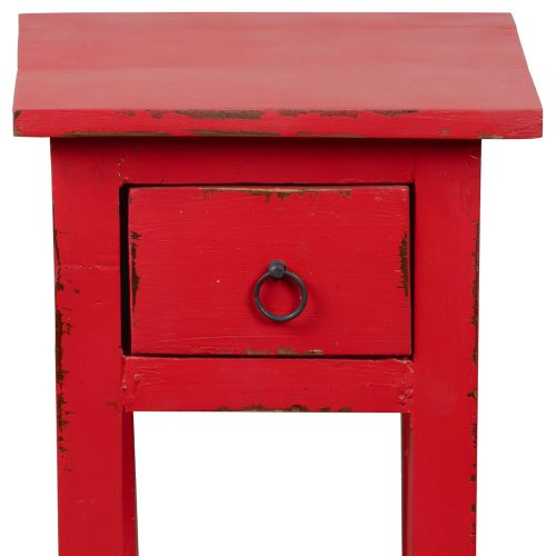 Shabby Chic Collection - Side table finished in distressed red - detail of drawer CC-TAB1792LD-RD