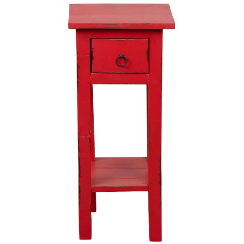 Shabby Chic Collection - Side table finished in distressed red - front view CC-TAB1792LD-RD