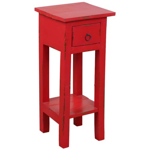 Shabby Chic Collection - Side table finished in distressed red - three-quarter view CC-TAB1792LD-RD