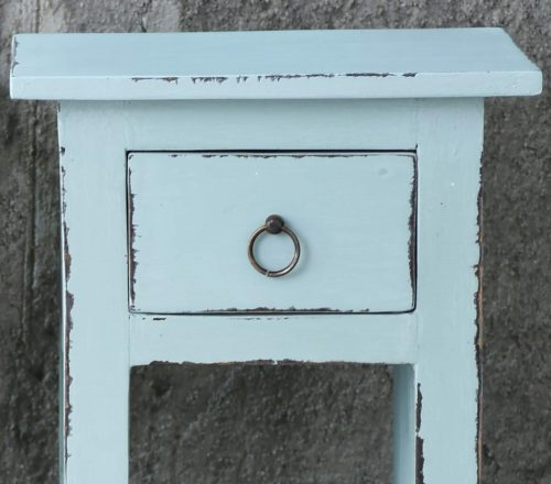 Shabby Chic Collection - Side table finished in distressed sky blue - detail of drawer CC-TAB1792LD-SB