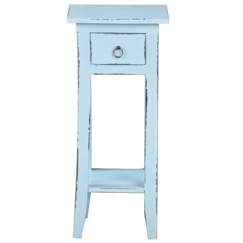 Shabby Chic Collection - Side table finished in distressed sky blue - front view CC-TAB1792LD-SB