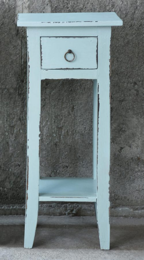 Shabby Chic Collection - Side table finished in distressed sky blue - room setting CC-TAB1792LD-SB