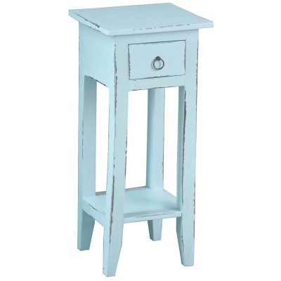 Shabby Chic Collection - Side table finished in distressed sky blue - three-quarter view CC-TAB1792LD-SB