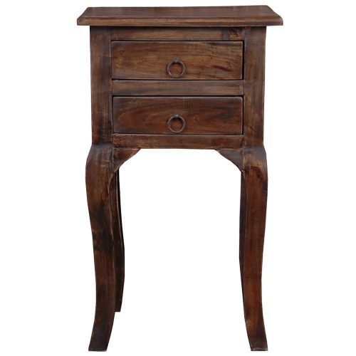 Shabby Chic Collection - Side table with two drawers finished in distressed Mahogany - front view CC-TAB1793S-VI