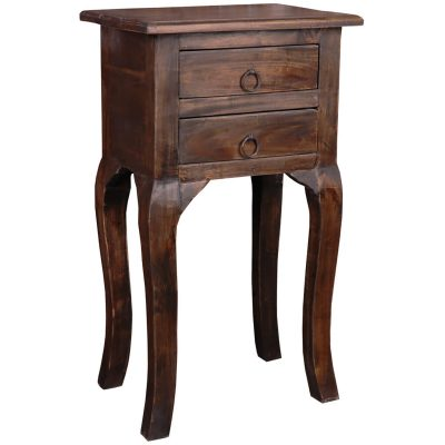 Shabby Chic Collection - Side table with two drawers finished in distressed Mahogany - three-quarter view CC-TAB1793S-VI