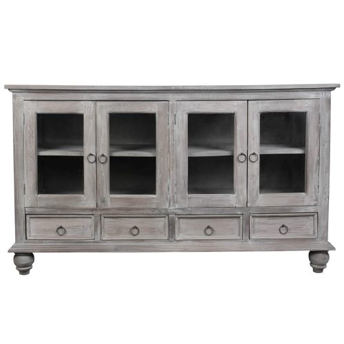 Shabby Chic Collection - Sideboard finished in distressed Gray wash - Front view CC-CAB1141S-LW