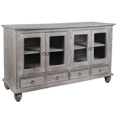 Shabby Chic Collection - Sideboard finished in distressed Gray wash - Three-quarter view CC-CAB1141S-LW