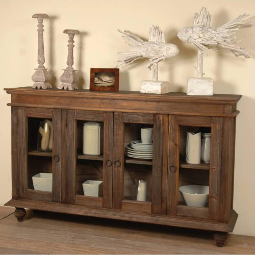 Shabby Chic Collection - Sideboard finished in distressed raftwood - room setting CC-CAB201S-RW