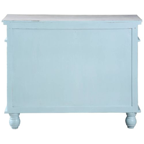 Shabby Chic Collection - Sideboard with drawers finished in beach blue - back view CC-CAB1296TLD-SBLW