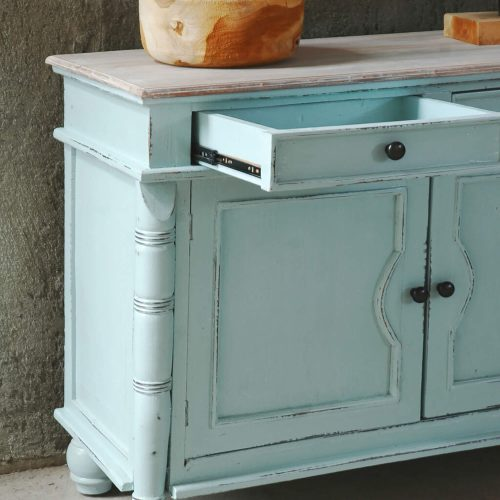Shabby Chic Collection - Sideboard with drawers finished in beach blue - detail of drawer CC-CAB1296TLD-SBLW