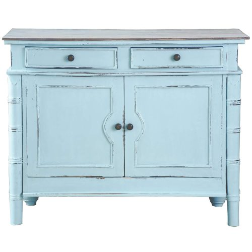 Shabby Chic Collection - Sideboard with drawers finished in beach blue - front view CC-CAB1296TLD-SBLW