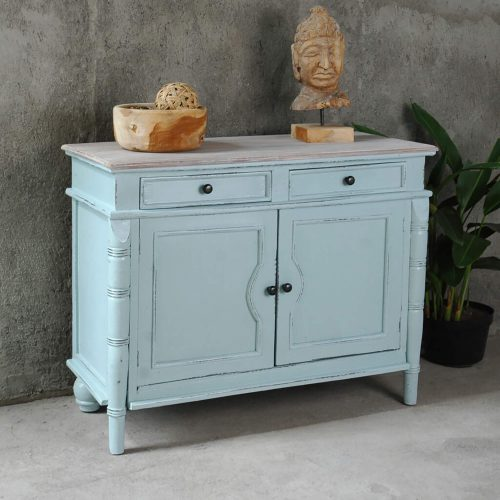 Shabby Chic Collection - Sideboard with drawers finished in beach blue - room setting CC-CAB1296TLD-SBLW