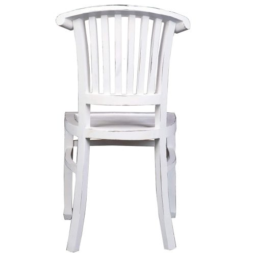 Shabby Chic Collection - Slat back chair finished in a whitewash - back view CC-CHA006LD-WW-2