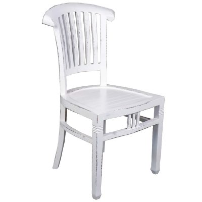 Shabby Chic Collection - Slat back chair finished in a whitewash - three-quarter view CC-CHA006LD-WW-2