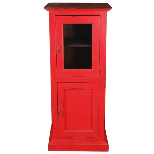 Shabby Chic Collection Storage cabinet finished in red with a Raftwood top - front view CC-CAB513TLD-RDRW