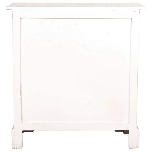 Shabby Chic Collection - Storage cabinet with drawers and four storage baskets finished in distressed white - back view CC-CAB2229LD-WW-B
