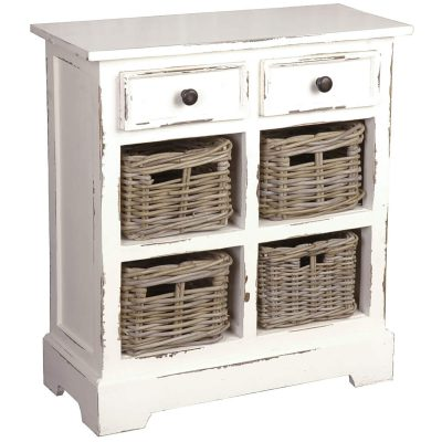 Shabby Chic Collection - Storage cabinet with drawers and four storage baskets finished in distressed white - three-quarter view CC-CAB2229LD-WW-B