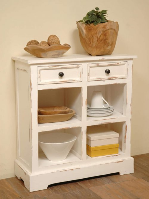 Shabby Chic Collection - Storage cabinet with drawers and storage for baskets finished in distressed white - room setting CC-CAB2229LD-WW-B