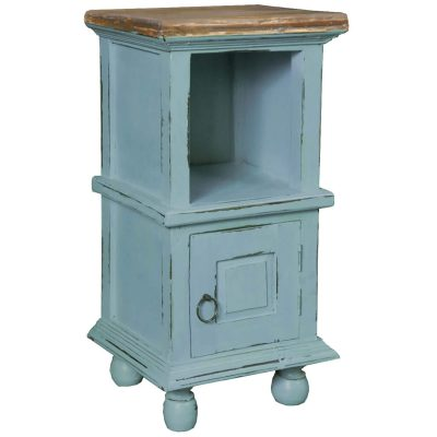 Shabby Chic Collection - Table with storage finished in two-tone beach blue with a Mahogany top - three-quarter view CC-TAB016TLD-BBSV