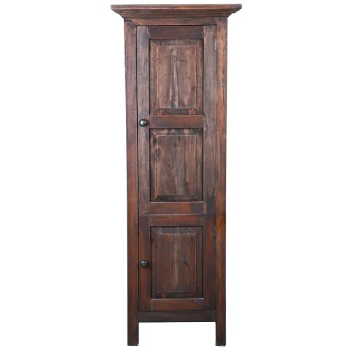 Shabby Chic Collection - Tall storage cabinet finished in rustic mahogany - front view CC-CAB1227S-RW