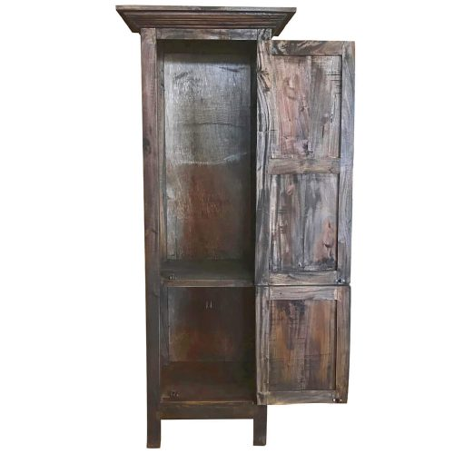 Shabby Chic Collection - Tall storage cabinet finished in rustic mahogany - front view with door open CC-CAB1227S-RW