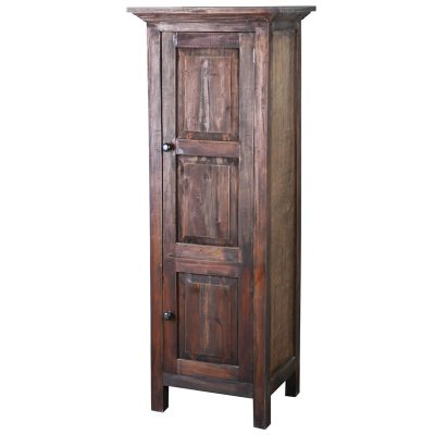 Shabby Chic Collection - Tall storage cabinet finished in rustic mahogany - three-quarter view CC-CAB1227S-RW