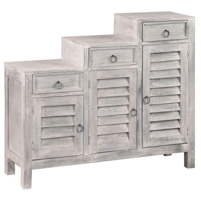 Shabby Chic Collection - Tiered shutter cabinet finished in a Gray wash - three-quarter view CC-CAB1181LD-SW