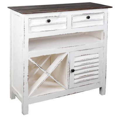 Shabby Chic Collection - Wine Server finished in distressed White - Three-quarter view CC-CAB212TLD-WWRW