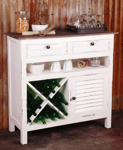 Shabby Chic Collection - Wine Server finished in distressed White - room setting CC-CAB212TLD-WWRW