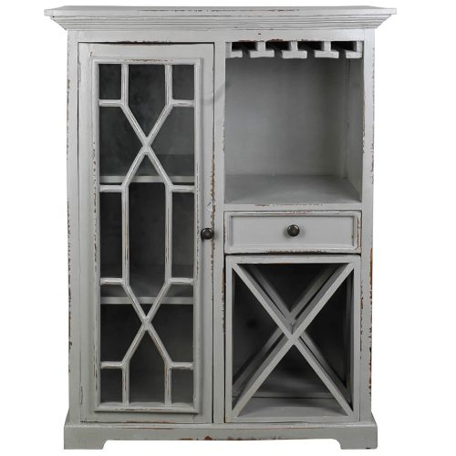 Shabby Chic Collection - Wine server finished in antique gray - front view CC-CAB1948LD-AG
