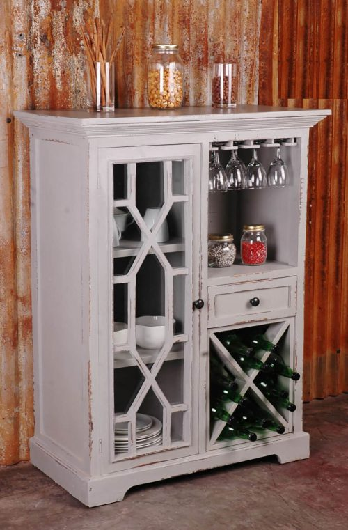 Shabby Chic Collection - Wine server finished in antique gray - room setting CC-CAB1948LD-AG