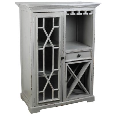 Shabby Chic Collection - Wine server finished in antique gray - three-quarter view CC-CAB1948LD-AG