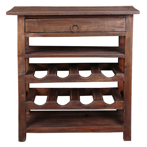 Shabby Chic Collection - Wine server finished in rustic Mahogany - front view CC-RAK030S-RW