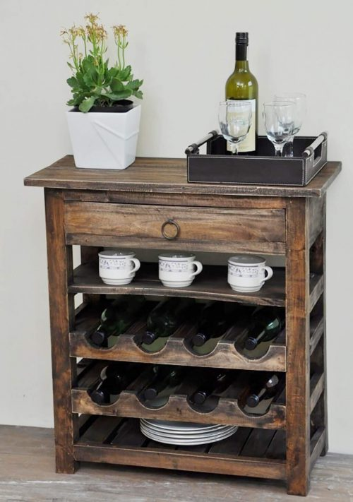 Shabby Chic Collection - Wine server finished in rustic Mahogany - room setting CC-RAK030S-RW