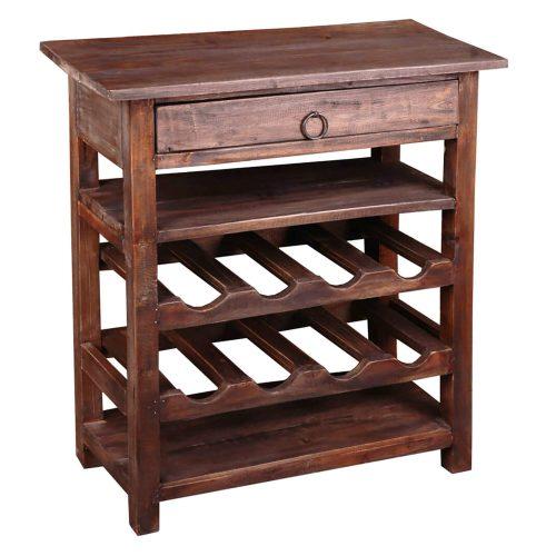 Shabby Chic Collection - Wine server finished in rustic Mahogany - three-quarter view CC-RAK030S-RW