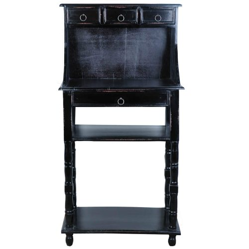 Shabby Chic Collection - Writing table with drawers - finished in antique black - front view CC-TAB3329LD-AB