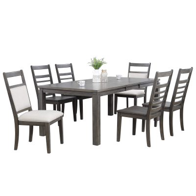 Shades of Gray - 7-piece dining set - extendable dining table - six slat back chairs DLU-EL9282-4C100-2C90-7PC