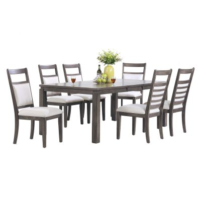 Shades of Gray - 7-piece dining set - extendable table with six upholstered chairs DLU-EL9282-C90-7PC