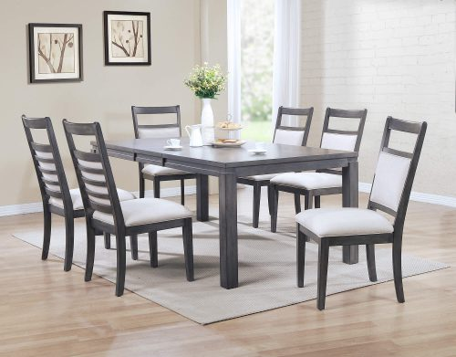 Shades of Gray - 7-piece dining set - extendable table with six upholstered chairs dining room setting DLU-EL9282-C90-7PC