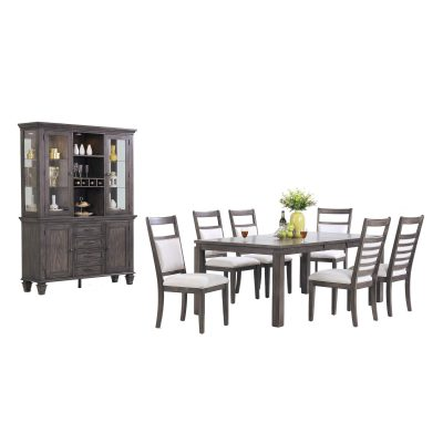 Shades of Gray - 9-piece dining set - extendable dining table - six upholstered chairs - buffet and hutch DLU-EL9282-C90-BH9PC