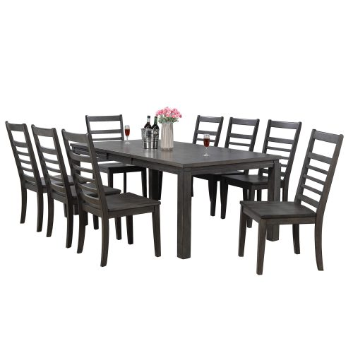 Shades of Gray - 9-piece dining set - extendable table with eight slat back chairs DLU-EL9282-C100-9PC