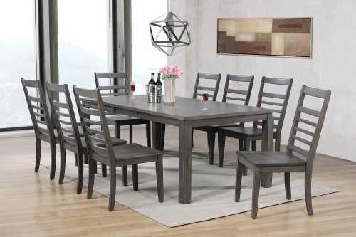 Shades of Gray - 9-piece dining set - extendable table with eight slat back chairs - dining room setting DLU-EL9282-C100-9PC